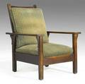 Gustav stickley open arm morris chair branded signature 40 x 30 12 x 34