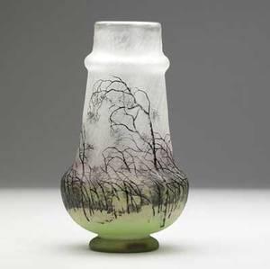 Daum gourd shaped acid etched vase rain stamped daum nancy with cross of lorraine 7 34 x 4 14