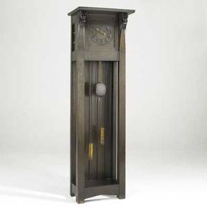 Arts  crafts tall case clock with leaded glass and carvings unmarked 75 x 23 x 16 34