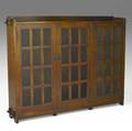 L  jg stickley rare tripledoor bookcase outline of decal 55 34 x 73 x 12