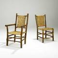Old hickory two rustic chairs one arm one side unmarked armchair 38 12 x 23 x 21