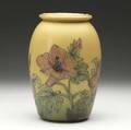Clara lindeman rookwood decorated mat ovoid vase with hibiscus 1925 flame markxxv2899artists cipher 9 14 x 6