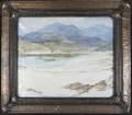 Edward s harper oil on canvas the white sands 1921 in elaborate hammered copper frame signed and dated sight 19 12 x 23 12