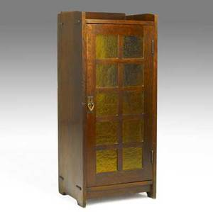Gustav stickley amber glass music cabinet with four adjustable shelves red decal and paper label 47 x 20 x 16