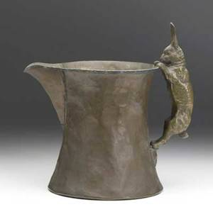 Joseph heinrichs hammered copper pitcher bronze rabbit handle and stitched silver detail see cond rpt stamped copper and silver 10 x 10