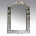 Boston school attr silverwashed hammered copper mirror with enameled stylized landscapes unmarked 26 x 18