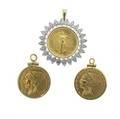 Three gold coins or bullion 1912 indian head 2 12 dollar in a 14k yg numismatic mount au 50 1928 indian head 2 12 dollar in a 14k yg numismatic mount au 50 1987 110 ot gold bullion in a 14k