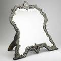 Unusually large edwardian silver mounted mirror william comyns  sons london 1902 pierced and raised floral and scroll frame deeply beveled glass easel back 27 x 32