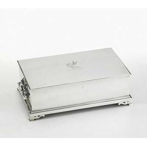 Canadian silver cigar case rectangular on four pierced bracket feet drop handles engraved falcon on hinged lid ca 1920 inscription on interior of lid 10 12 x 6 14 x 3 12 6125 ot