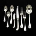 Tiffany co trifid silver flatware thirtynine pieces 19561965 sixpiece setting for six and three serving pieces 7 18 forks 7 oval soup spoons 6 18 teaspoons 7 34 dinner forks 10 pi