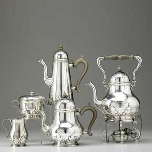 Crichton bros silver cut card work coffee service london 1920 five substantial pieces in the queen anne style pearshaped kettle on stand 13 above finial teapot 9 14 above finial cream pi