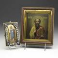 Two russian icons both ca 1900 a personal icon depicts the guardian angel delicately rendered on gilded metal the gilt silver oklad with cloisonne flower on cream and burgundy ground oval mark mc