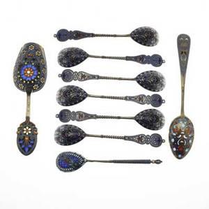 Russian cloisonn champleve or pliqueajour enameled spoons and scoop marks for antip kuzmichev moscow 88 standard ca 1890 pliqueajour shovel with cloisonne banding on reverse pliqueajour