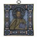 Pavel ovchinnikov enameled silver and seed pearl icon gilt 84 silver moscow ca 1890 with imperial warrant christ pantocrator wearing seed pearl vestments and crest holds blue enameled book cloiso