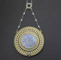 Ferdinand verger belle poque enameled and gemset pendant watch 18k 18 jewels 5 adj keyless miniature within a platinum and rosecut diamond frame depicts a woman with cherubs on a blue ground s