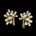 Van cleef and arpels diamond and gold ear clips 18k yg designed as clusters of polished gold petals set with colorless brilliant cut diamonds approx 260 cts tw 228 gs gw 29326 1 14