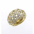 Tiffany  co woven diamond ring 18k yg tapered bombe trellis with fine brilliant cut diamonds 175 cts tw 107 gs gw size 8