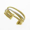 David yurman gold  diamond open cuff 18k yg and wg fourrow crossover with cables and diamonds approx 75 ct 511 gs 2 x 1 12 x 1