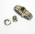 David yurman silver and gold cable jewelry sterling and 14k yg threerow bracelet with cushionshaped faceted amethyst together with crossed cable earrings 109 gs gw