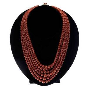 18k  red coral six strand necklace italian ca 1960 concentric strands of graduated dark red coral beads 10mm5mm rectangular gold clasp with applied wire work and six coral cabochons shortest s