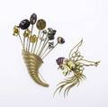 Two gold brooches 14k 19451960 bicolor gold fighting cock calibre ruby comb diamond eye unmarked stickpin bouquet cornucopia composed of eleven victorian stickpins in gold silver gf gems
