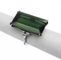Tiffany  co art deco platinum tourmaline and diamond ring rectangular green tourmaline 25mm x 15mm x 635mm approx 16 cts and triplet baguette diamond shoulders ca 1925 1 size 8
