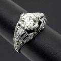 Art deco diamond ring ornate platinum setting with 235 cts oec diamond and 32 ct tw accent diamonds 47 gs gw size 7