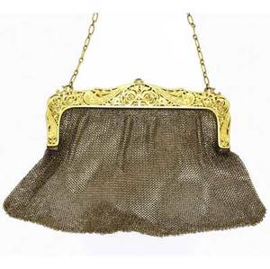 Swiss gold mesh evening bag 14k with hinged frame ornately pierced and chased in the rococo style ca 1910 cabochon sapphire push pin oval link chain handle suspends from a ring 2036 gs 6 wide