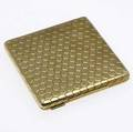 Italian 18k gold compact square with overall honeycomb texture 1277 gs tw 2 78 sq
