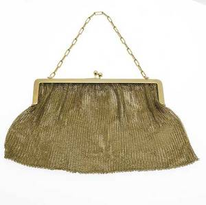 18k gold mesh evening bag rectangular with oval link chain handle 1934 gs 4 12 x 5