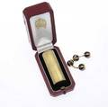 French gold accessories include cartier 18k 20th c engineturned lipstick case by cartier original fitted box 2 spherical doublecufflinks with blue and red sectioned enamel unidentified french
