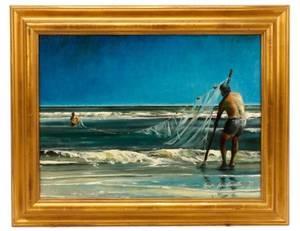 Bruce Braithwaite Seining Oil On Canvas 1987