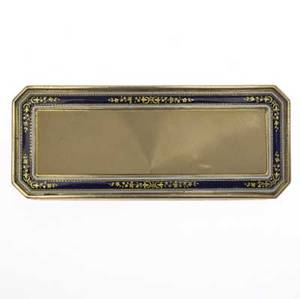 Louis xv enameled gold snuff box 18k rectangular box with translucent blue guilloche and white enamel borders paris 1762 966 gs 3 12 x 1 38