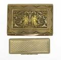 Two gold snuff or cigarette boxes one 14k yg lattice patterned box with scroll ribbon edges 2 58 x 78 x 78 together with a tricolor 9k box with ornate neoclassical decorations 3 x 2 18 14