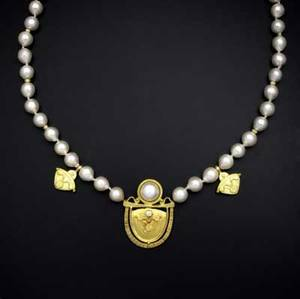 Ross coppelman gold  pearl necklace east dennis mass 22k yg with a strand of akoya baroque pearls 9mm84mm textured gold spacers and three textured fused gold artifacts the central amulet w