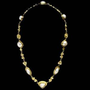 Important ross coppelman diamond  pearl necklace east dennis mass designed as textured links of fused 22k and 18k gold with bezelset diamonds 224 cts tw and shaped mabe pearls ca 1985 71