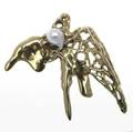 Irena brynner modernist gold and pearl bird brooch 18k yg freeform design signed i brynner 392 gs gw 2 12 x 2 34