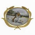 Scenic essex reverse crystal brooch 14k yg depicts dog on sandy foreground trees and a stately home in cattail frame ca 1910 198 gs 1 34 x 1 12