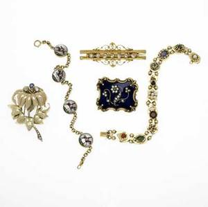 Gold jewelry five pieces 18801950 victorian enameled gold brooch seed pearl and diamond floral spray on blue ground hair compartment on reverse victorian rose cut diamond brooch bloomed 14k yg