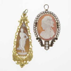 Two victorian gold  cameo pendants 14k yg 18501880 carved teardropshaped shell cameo depicts a nymph in bloomed gold with cannetile and granulation sardonyx cameo depicts a woman within a strapp