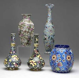 Five dutch vases all 20th c pair of matching gouda vases together with ones marked crotius plazuid and zomer tallest 8 34
