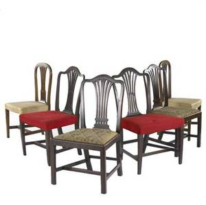 Six english hepplewhite side chairs in mahogany 18th c largest 21 x 20 x 17