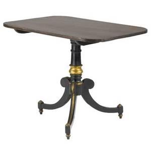 English georgian tilttop table in mahogany with ebonized base 19th c 26 12 x 34 x 27