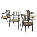 Four english regency arm chairs ca 17901800 largest 34 x 20 x 21