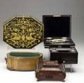 Five assorted boxes all 19th c drafting set inkwell open satinwood planter decorated octagonal box and brass footed dresser box largest 10 34 x 8 34 x 3