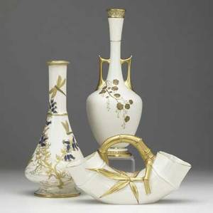 Three vases by royal worcester late 19th c all with leaf flower and gold decoration tallest 13