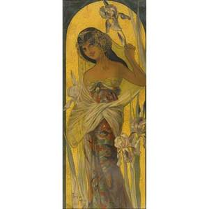 Art nouveau poster early 20th c signed mary golay depose no2 chromolithograph on a gilt ground framed 15 12 x 39