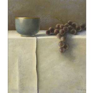 Suzanne douglass lambertville nj 20th c untitled still life with grapes oil on panel framed ca 1990 signed 13 x 11