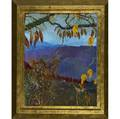 Jane gilday american b 1951 black kitten on autumn boulder oil on canvasboard in artistmade frame signed titled and dated 2001 34 x 27