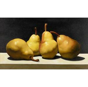J r newton american 20th c quartet oil on canvas framed signed 24 x 40